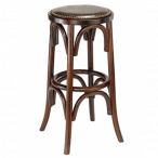 Antique Walnut Bistro Style Backless Commercial Bar Stool with Upholstered Seat