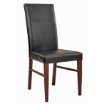 Fully Upholstered Wood Look Metal Restaurant Chair in Mahogany