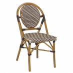 Synthetic Wicker & Bamboo Outdoor Chair with Rounded Back
