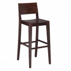 Walnut Wood Commercial Bar Stool with Veneer Seat and Back (Front)
