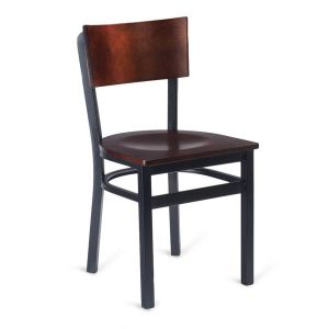 Black Metal Commercial Chair with Square Dark Mahogany Veneer Seat and Back (Front)