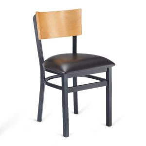 Black Metal Commercial Chair with Square Natural Veneer Back and Upholstered Seat  (Front)