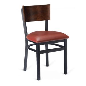 Black Metal Commercial Chair with Square Walnut Veneer Back and Upholstered Seat