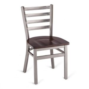 Clear Coat Distressed Finish Steel Ladderback Restaurant Chair with Solid Beechwood Seat