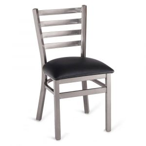 Clear Coat Distressed Finish Steel Ladderback Restaurant Chair with Upholstered Seat