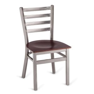 Clear Coat Distressed Finish Steel Ladderback Restaurant Chair with Veneer Seat