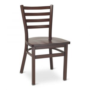 Dark Mahogany Steel Ladderback Restaurant Chair with Solid Beechwood Seat