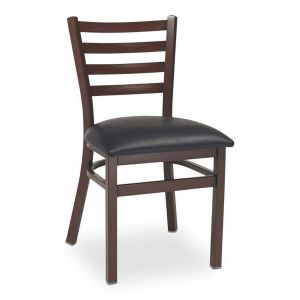 Dark Mahogany Steel Ladderback Restaurant Chair with Upholstered Seat