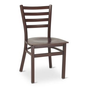 Dark Mahogany Steel Ladderback Restaurant Chair with Veneer Seat