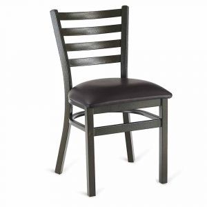Gold-Vein Steel Ladderback Restaurant Chair with Upholstered Seat