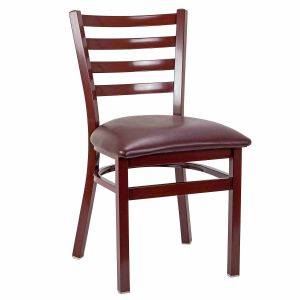 Mahogany Steel Ladderback Restaurant Chair with Upholstered Seat