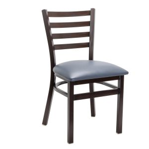 Walnut Steel Ladderback Restaurant Chair with Upholstered Seat (Front)