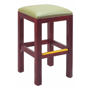 Dark Mahogany Wood Morgan Restaurant Backless Bar Stool with Upholstered Seat