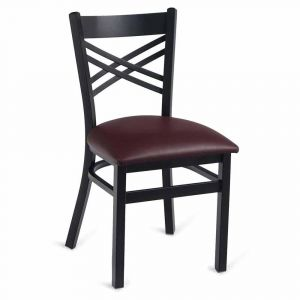 Black Metal X-Back Commercial Chair with Upholstered Seat (Front)