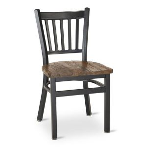 Black Metal Vertical-Back Commercial Chair with Reclaimed Wood Seat