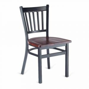 Black Metal Vertical-Back Commercial Chair with Solid Beechwood Seat