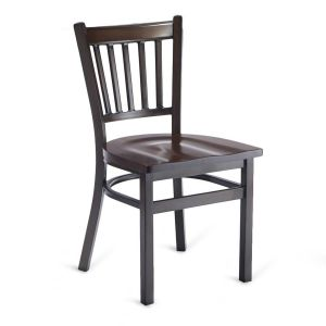 Walnut Metal Vertical-Back Commercial Chair with Solid Beechwood Seat