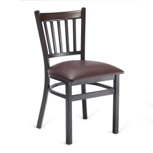 Walnut Metal Vertical-Back Commercial Chair with Upholstered Seat