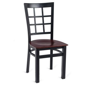 Black Steel Window-Back Restaurant Chair with Veneer Seat