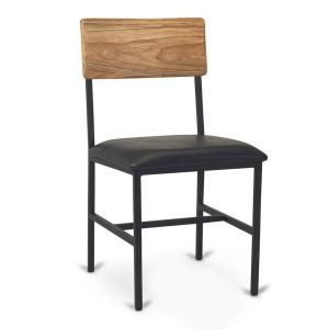 Reclaimed Wood Restaurant Chair with Industrial Steel Frame in Natural with Upholstered Seat