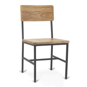 Reclaimed Wood Restaurant Chair with Industrial Steel Frame in Natural