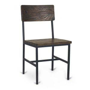 Reclaimed Wood Restaurant Chair with Industrial Steel Frame in Walnut