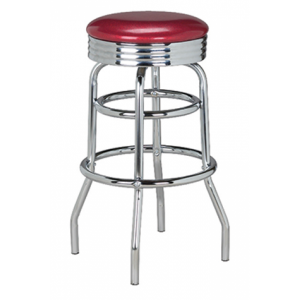 Fifties Style Retro Backless Bar Stool with Upholstered Seat