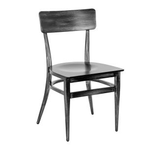 Antique Gray Commercial Chair with Veneer Seat (Front)