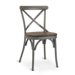 French Grey Metal Cross-Back Commercial Chair with Premium Solid Ashwood Seat