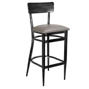 Upholstered Antique Gray Commercial Bar Stool (Front)