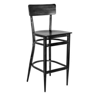 Antique Gray Commercial Bar Stool with Veneer Seat (Front)