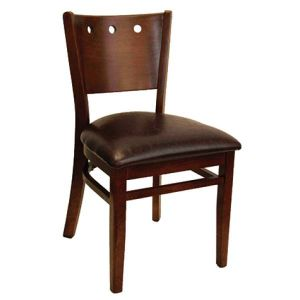 Walnut Wood Lisbon Side Chair with Upholstered Seat (front)