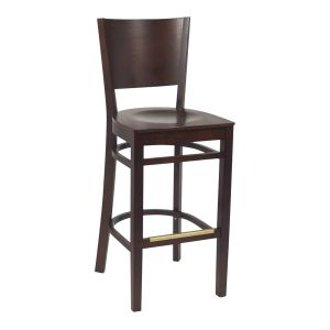 Walnut Wood Contempo Commercial Bar Stool with Veneer Seat (front)