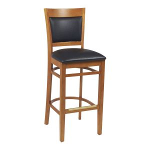 Cherry Wood Finish Easton Commercial Bar Stool with Upholstered Seat & Back (front)