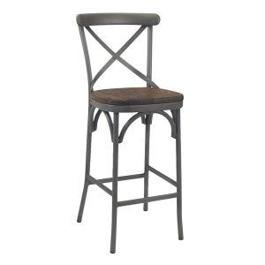 French Grey Metal Cross-Back Commercial Bar Stool with Premium Solid Ashwood Seat (front)