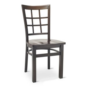 Walnut Steel Window-Back Restaurant Chair with Solid Beechwood Seat