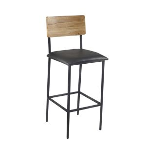Reclaimed Wood Industrial Steel Frame Restaurant Bar Stool in Natural with Upholstered Seat (front)