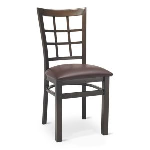 Walnut Steel Window-Back Restaurant Chair with Upholstered Seat