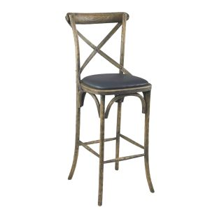 Antique Grey Oak Wood Cross-Back Commercial Bar Stool with Upholstered Seat (front)