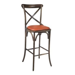 Antique Walnut Wood Cross-Back Commercial Bar Stool with Upholstered Seat (front)