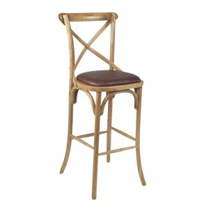 Natural Oak Wood Cross-Back Commercial Bar Stool (front)