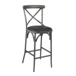 French Grey Metal Cross-Back Commercial Bar Stool with Upholstered Seat (front)