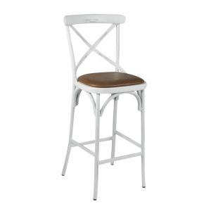Antique White Metal Cross-Back Commercial Bar Stool with Upholstered Seat (front)