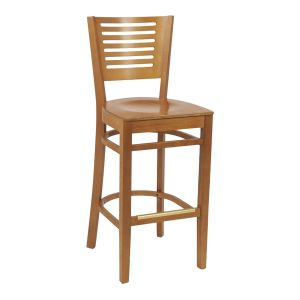 Narrow-Slat Back Commercial Bar Stool with Veneer Seat in Cherry (front)