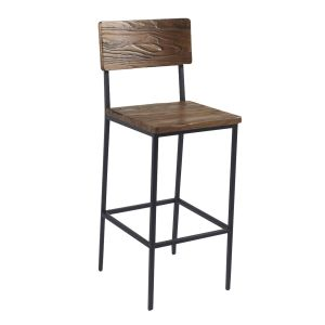 Reclaimed Wood Industrial Steel Frame Restaurant Bar Stool in Walnut (front)