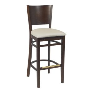 Walnut Wood Contempo Commercial Bar Stool with Upholstered Seat (front)
