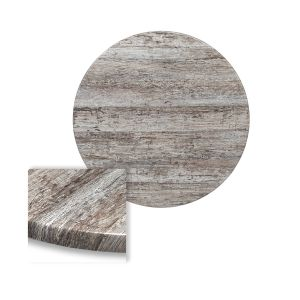 "Werzalit Reclaimed Wood Round Outdoor Dining Table Top (30"")"