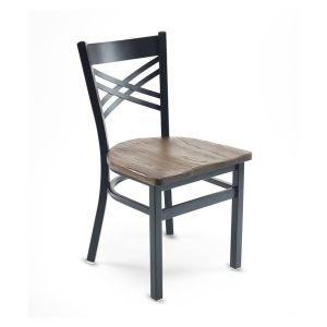 Black Metal X-Back Commercial Chair with Reclaimed Wood Seat (Front)