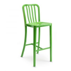 Outdoor Navy-Style Vertical-Back Commercial Barstool in Green