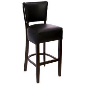 Fully Upholstered Deluxe Nailhead Trim Dining Bar Stool in Cherry